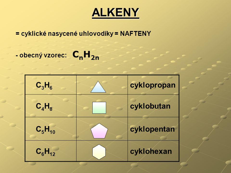 ALKENY C3H6 cyklopropan C4H8 cyklobutan C5H10 cyklopentan C6H12