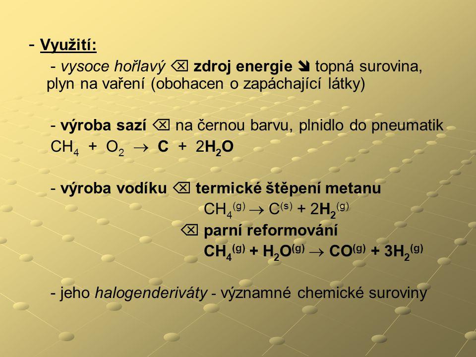 - Využití: - vysoce hořlavý  zdroj energie  topná surovina, plyn na vaření (obohacen o zapáchající látky)
