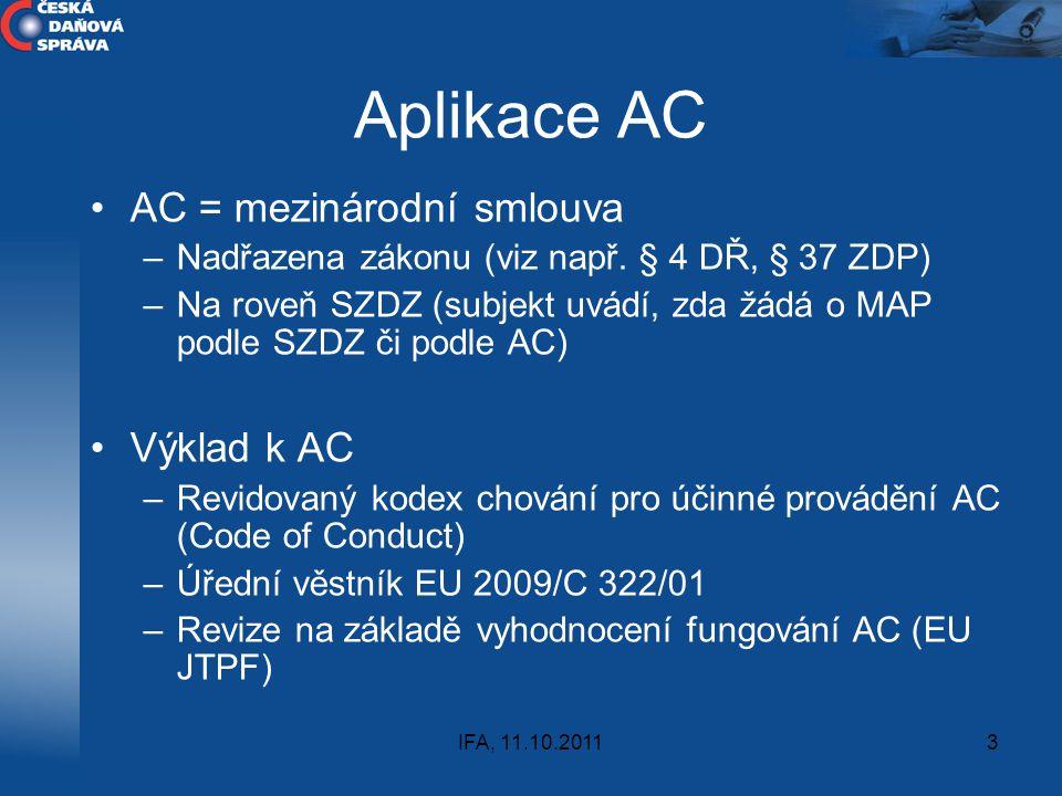 Aplikace AC AC = mezinárodní smlouva Výklad k AC