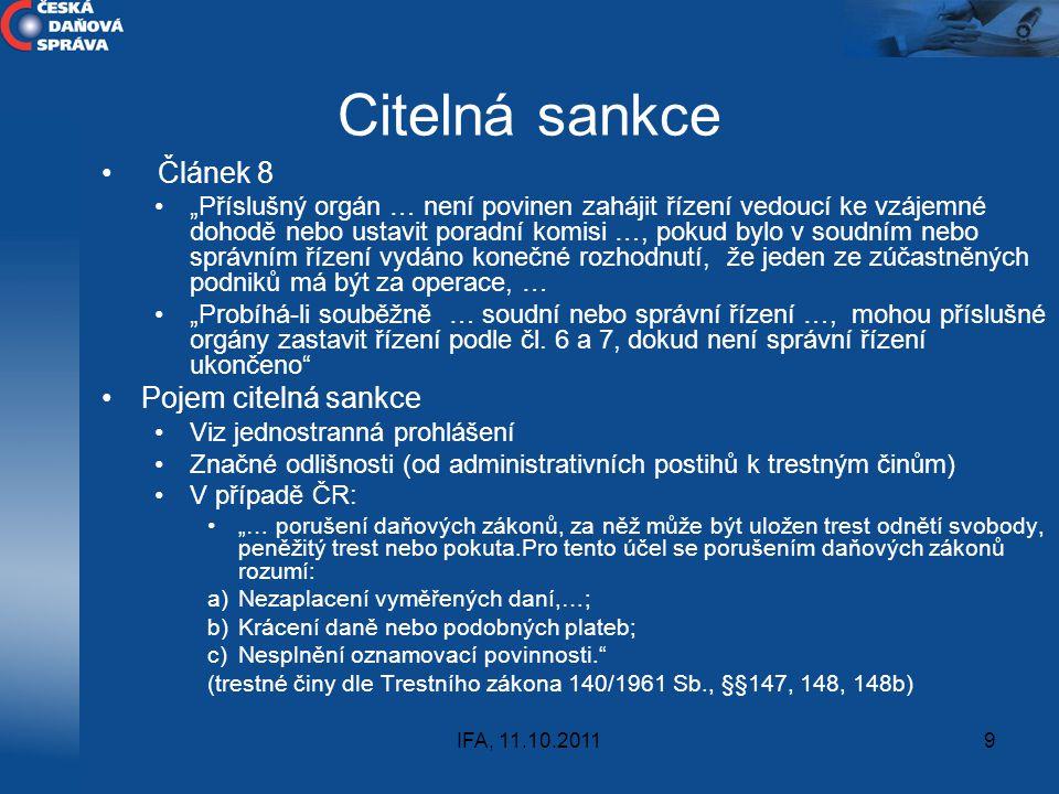 Citelná sankce Článek 8 Pojem citelná sankce