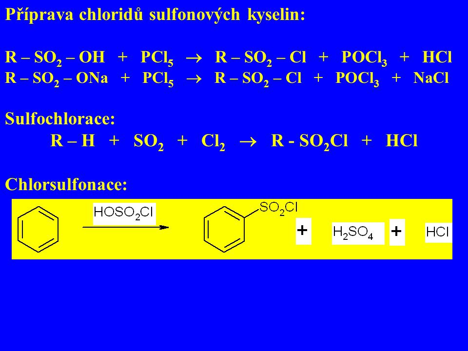 R – H + SO2 + Cl2  R - SO2Cl + HCl