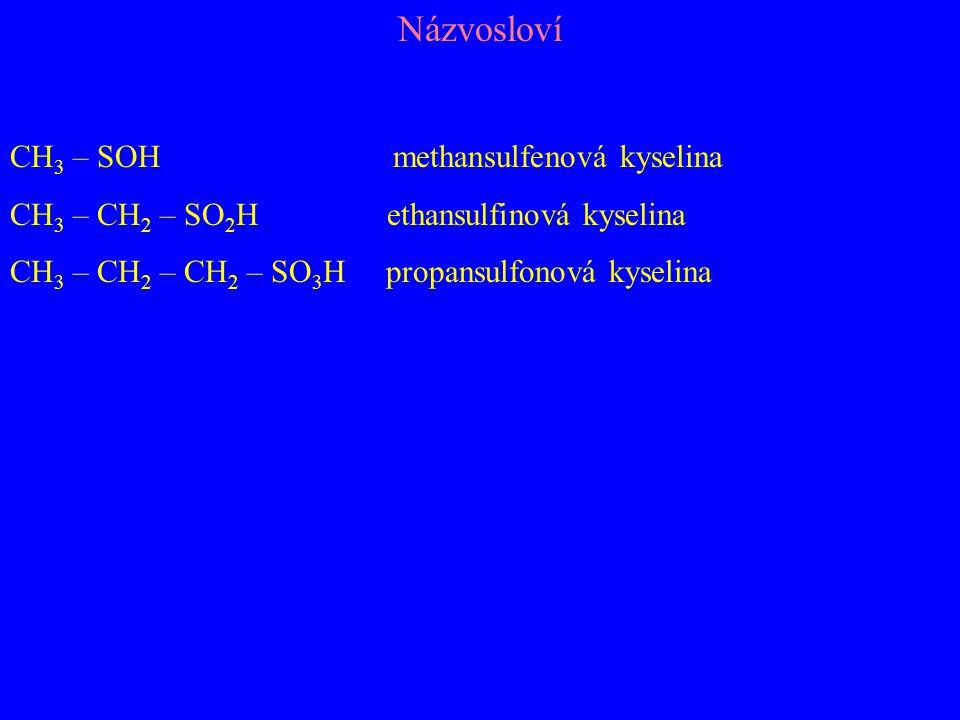 Názvosloví CH3 – SOH methansulfenová kyselina