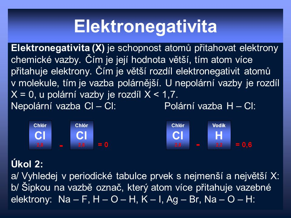 Elektronegativita Cl Cl Cl H - -
