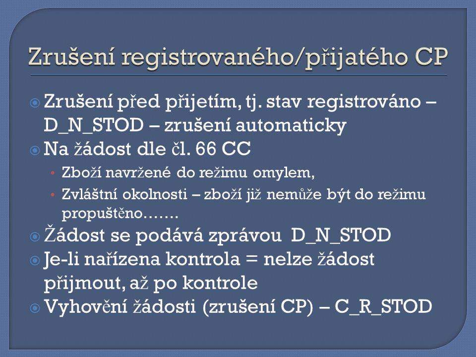 Zrušení registrovaného/přijatého CP
