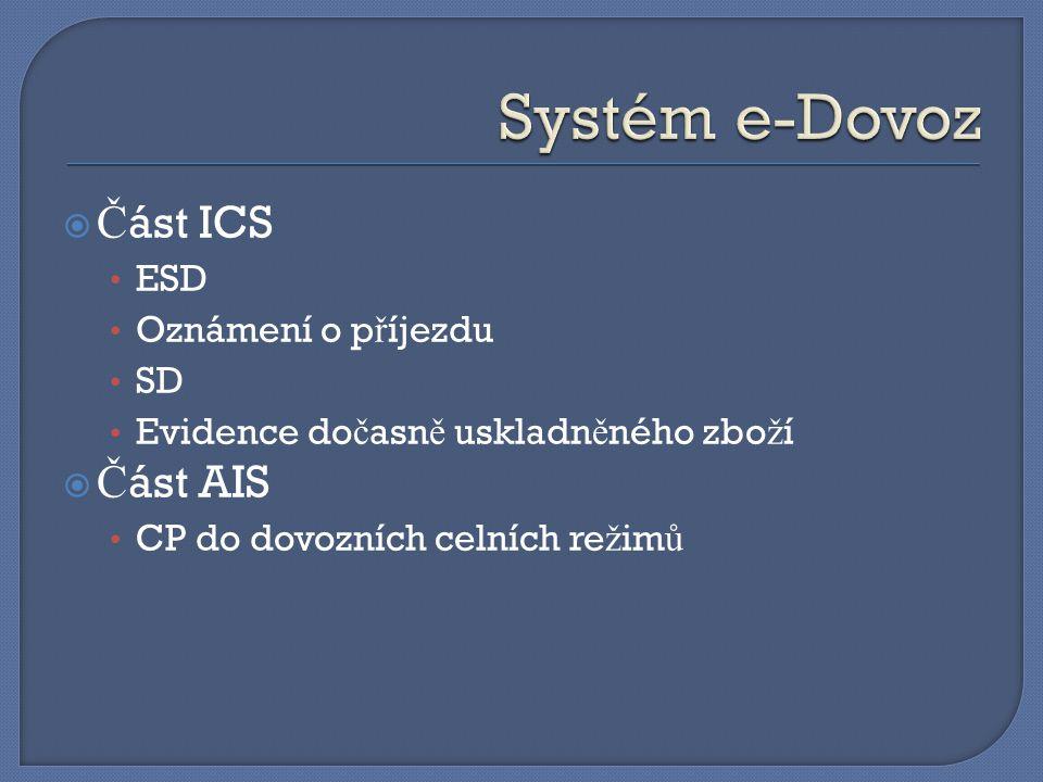 Systém e-Dovoz Část ICS Část AIS ESD Oznámení o příjezdu SD