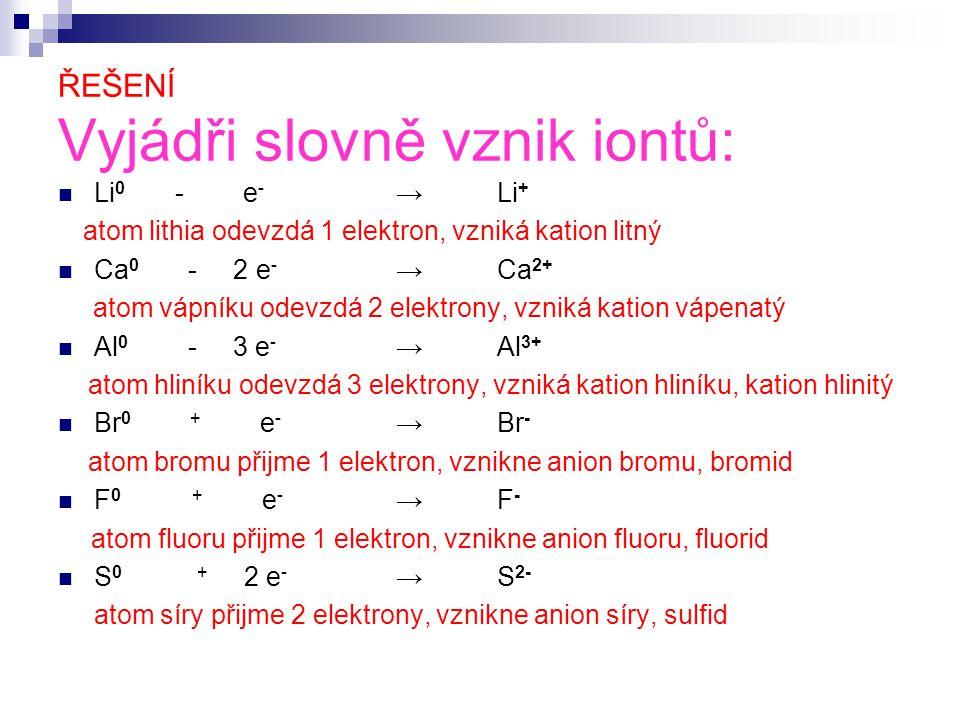 ŘEŠENÍ Vyjádři slovně vznik iontů: