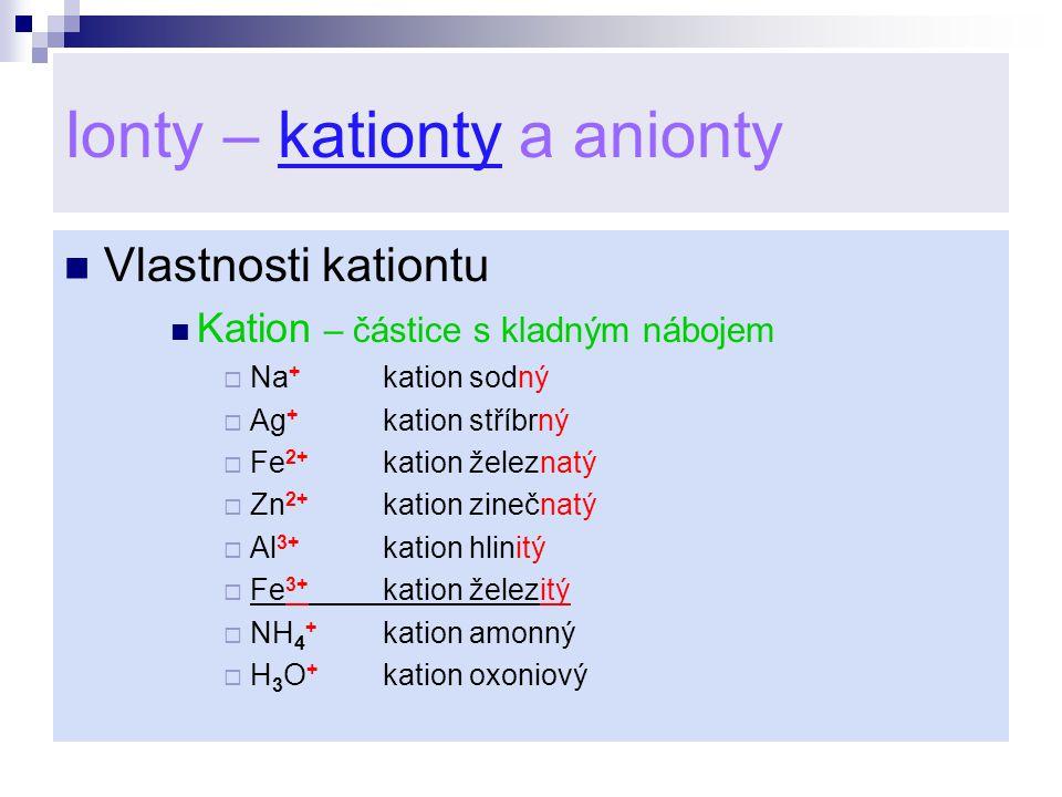 Ionty – kationty a anionty
