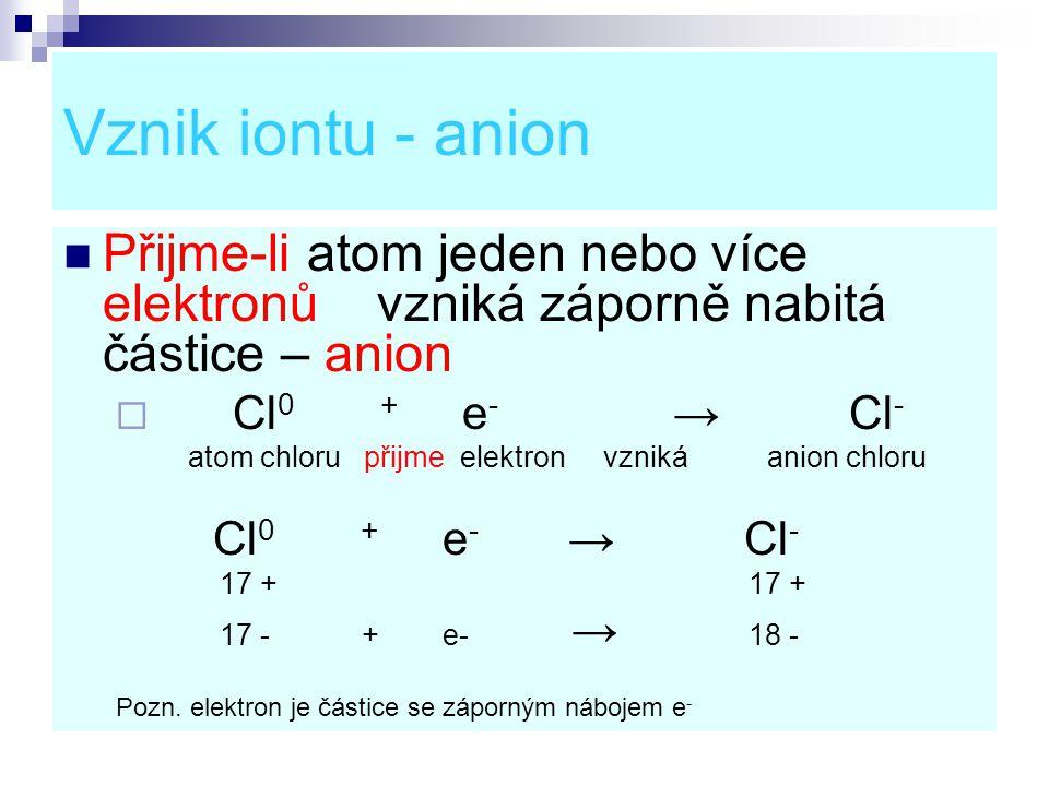 Vznik iontu - anion Přijme-li atom jeden nebo více elektronů vzniká záporně nabitá částice – anion.