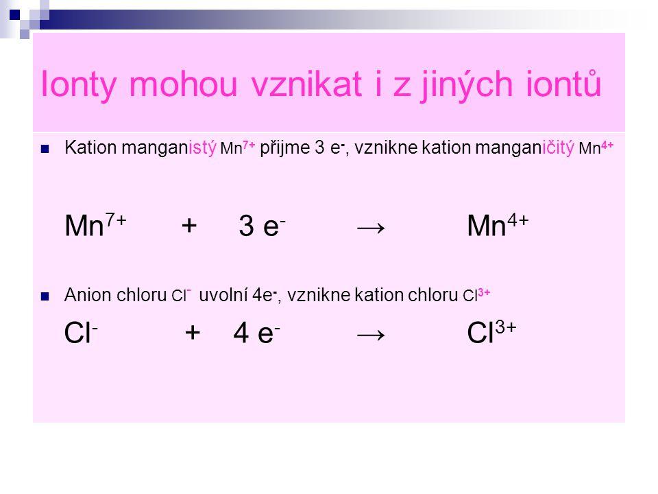 Ionty mohou vznikat i z jiných iontů