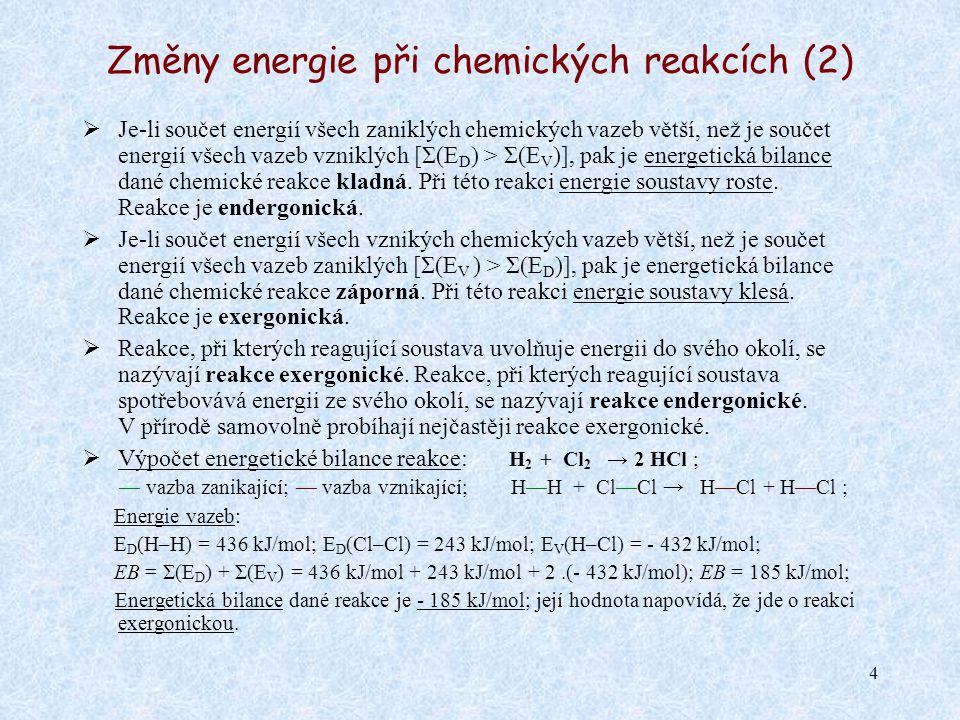 Změny energie při chemických reakcích (2)