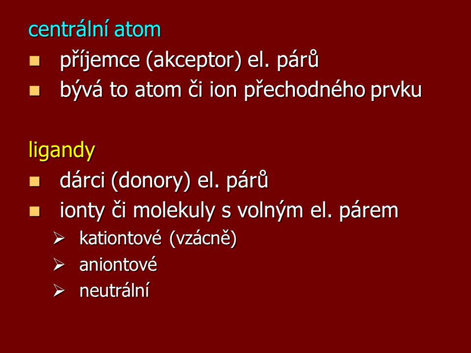 příjemce (akceptor) el. párů bývá to atom či ion přechodného prvku