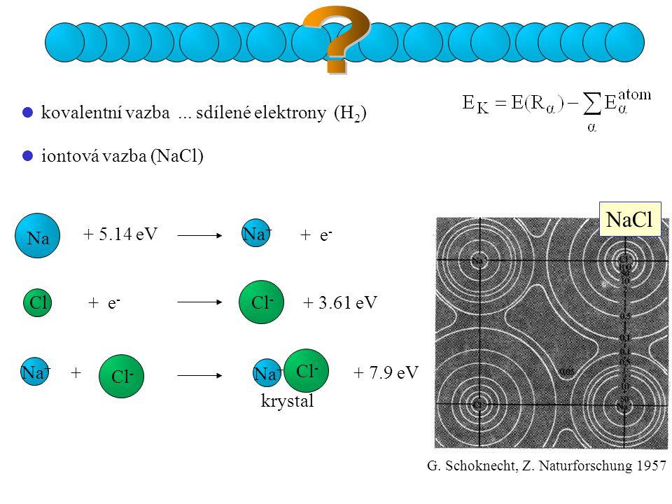 NaCl  kovalentní vazba ... sdílené elektrony (H2)