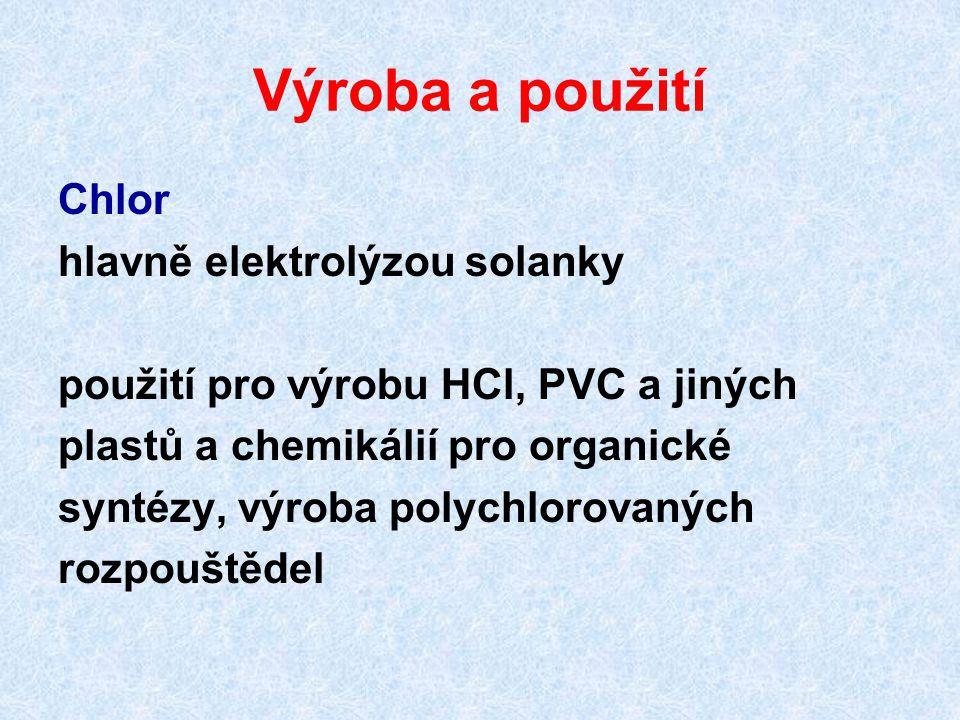 Výroba a použití Chlor hlavně elektrolýzou solanky