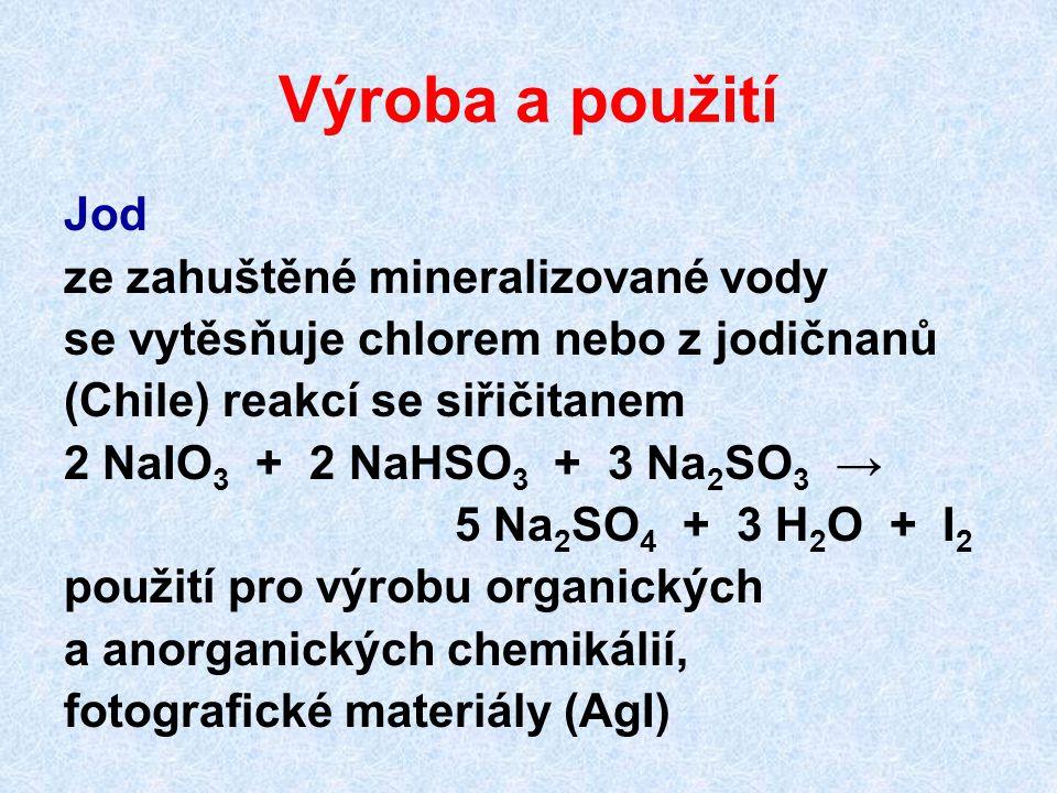 Výroba a použití Jod ze zahuštěné mineralizované vody