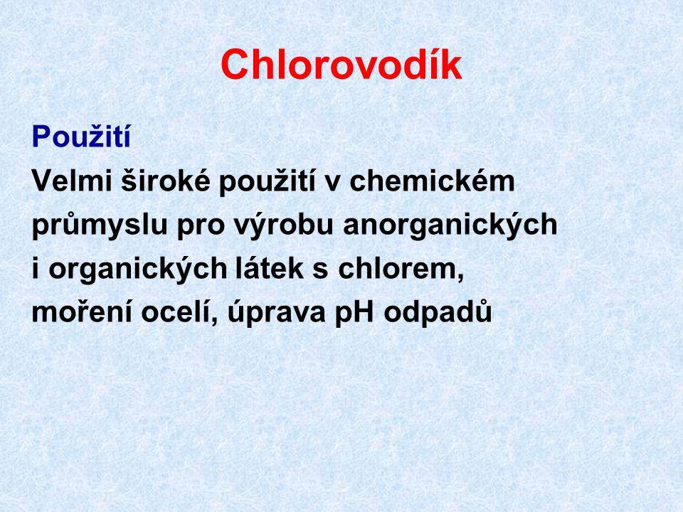 Chlorovodík Použití Velmi široké použití v chemickém