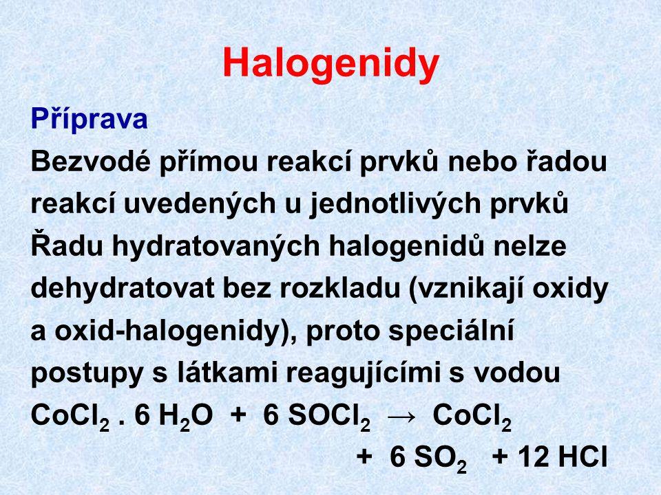 Halogenidy Příprava Bezvodé přímou reakcí prvků nebo řadou
