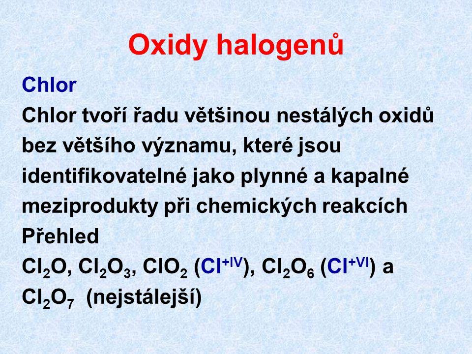 Oxidy halogenů Chlor Chlor tvoří řadu většinou nestálých oxidů