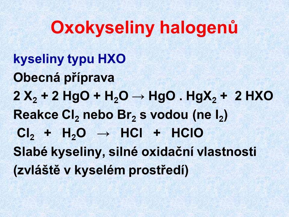 Oxokyseliny halogenů kyseliny typu HXO Obecná příprava