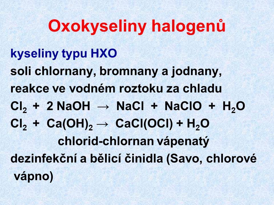 Oxokyseliny halogenů kyseliny typu HXO