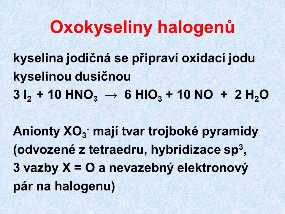 Oxokyseliny halogenů kyselina jodičná se připraví oxidací jodu