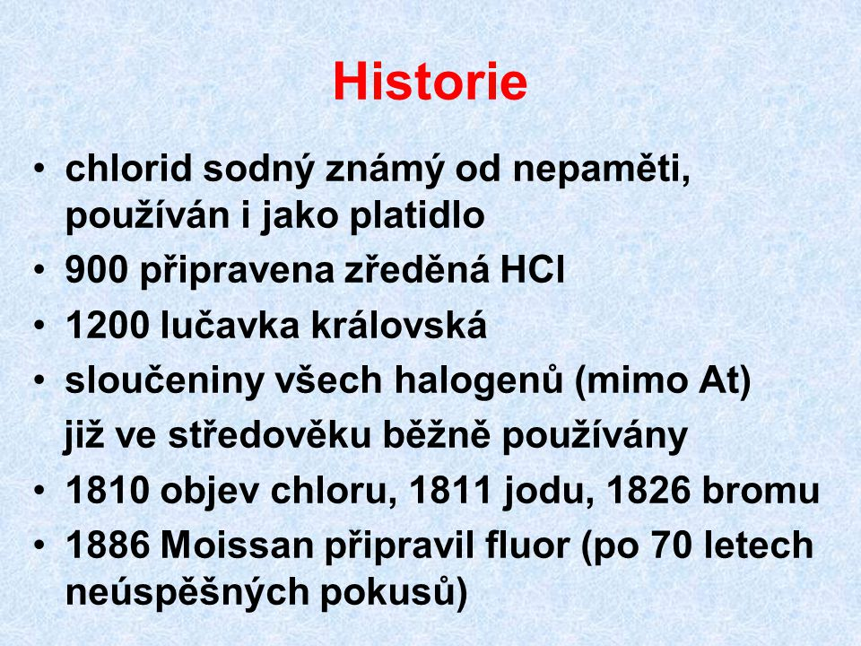 Historie chlorid sodný známý od nepaměti, používán i jako platidlo