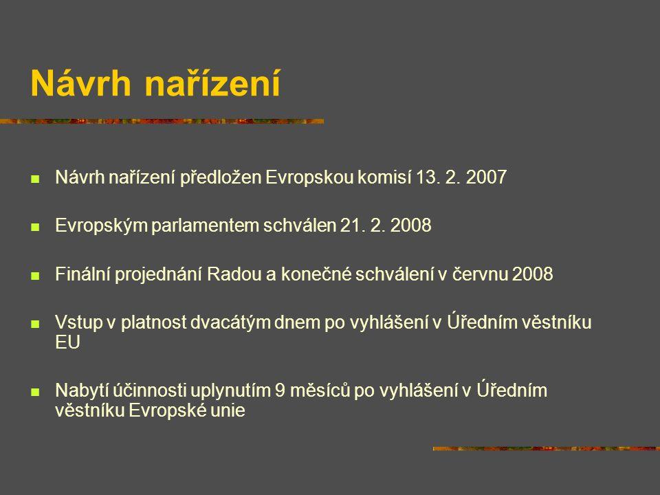 Návrh nařízení Návrh nařízení předložen Evropskou komisí 13. 2. 2007