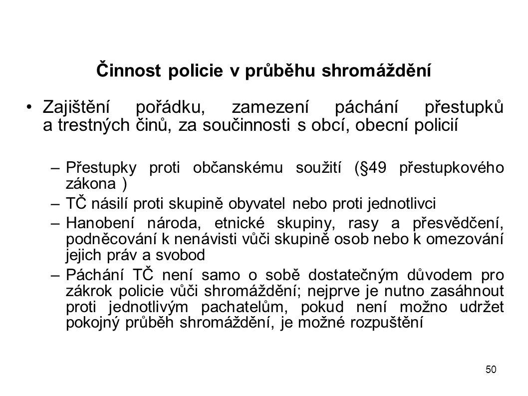 Činnost policie v průběhu shromáždění