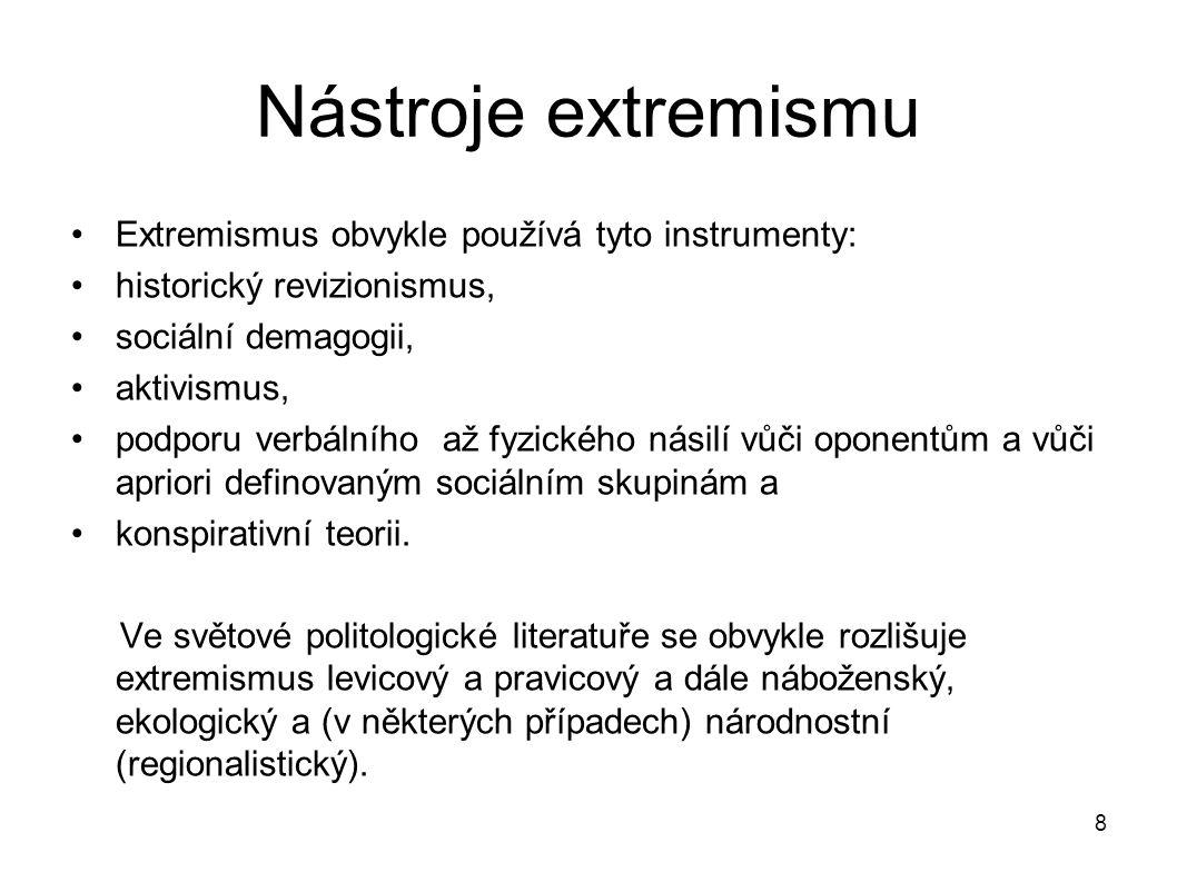 Nástroje extremismu Extremismus obvykle používá tyto instrumenty:
