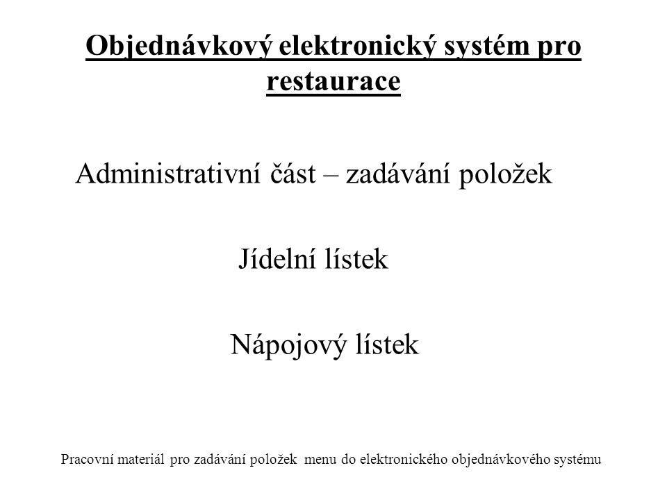 Objednávkový elektronický systém pro restaurace