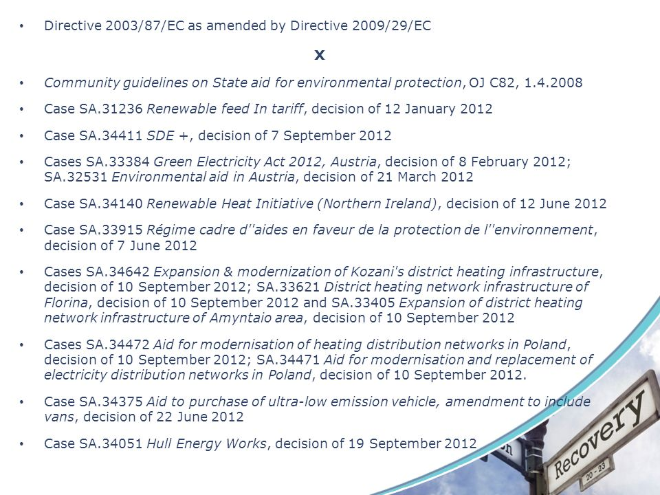 x Directive 2003/87/EC as amended by Directive 2009/29/EC