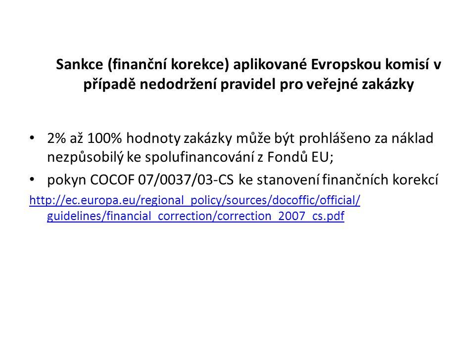Sankce (finanční korekce) aplikované Evropskou komisí v případě nedodržení pravidel pro veřejné zakázky