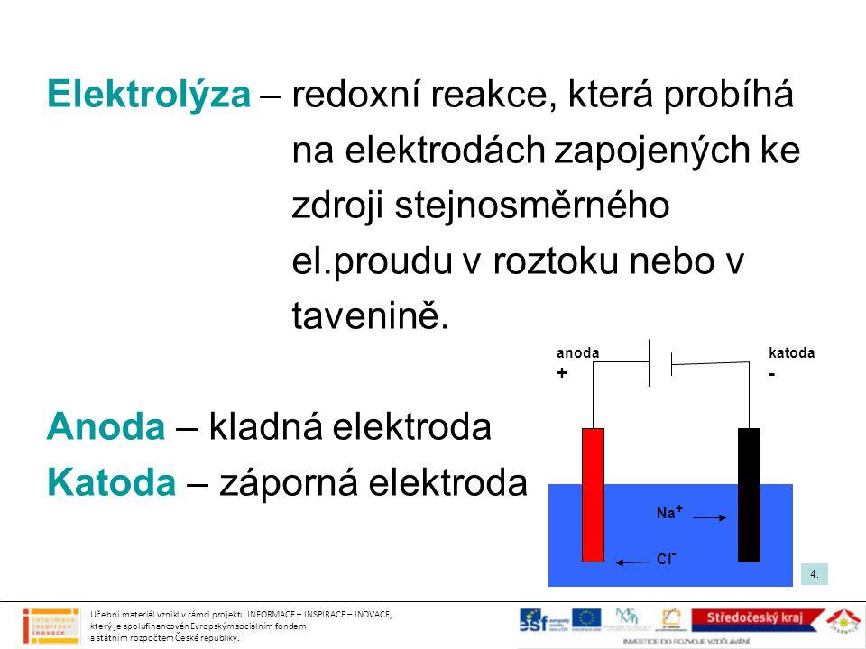 Elektrolýza – redoxní reakce, která probíhá
