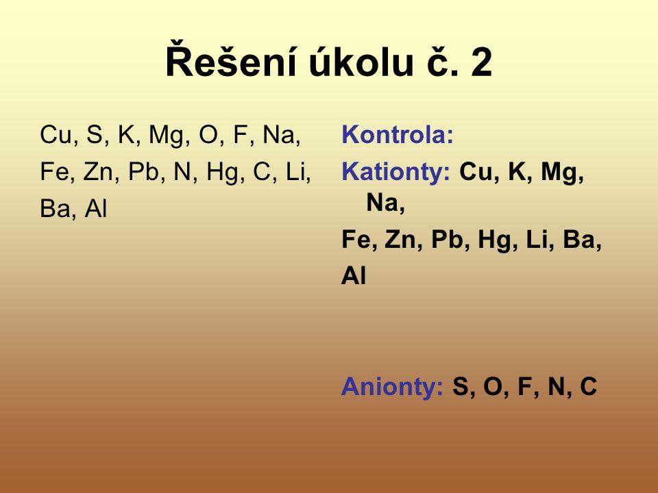 Řešení úkolu č. 2 Cu, S, K, Mg, O, F, Na, Fe, Zn, Pb, N, Hg, C, Li,