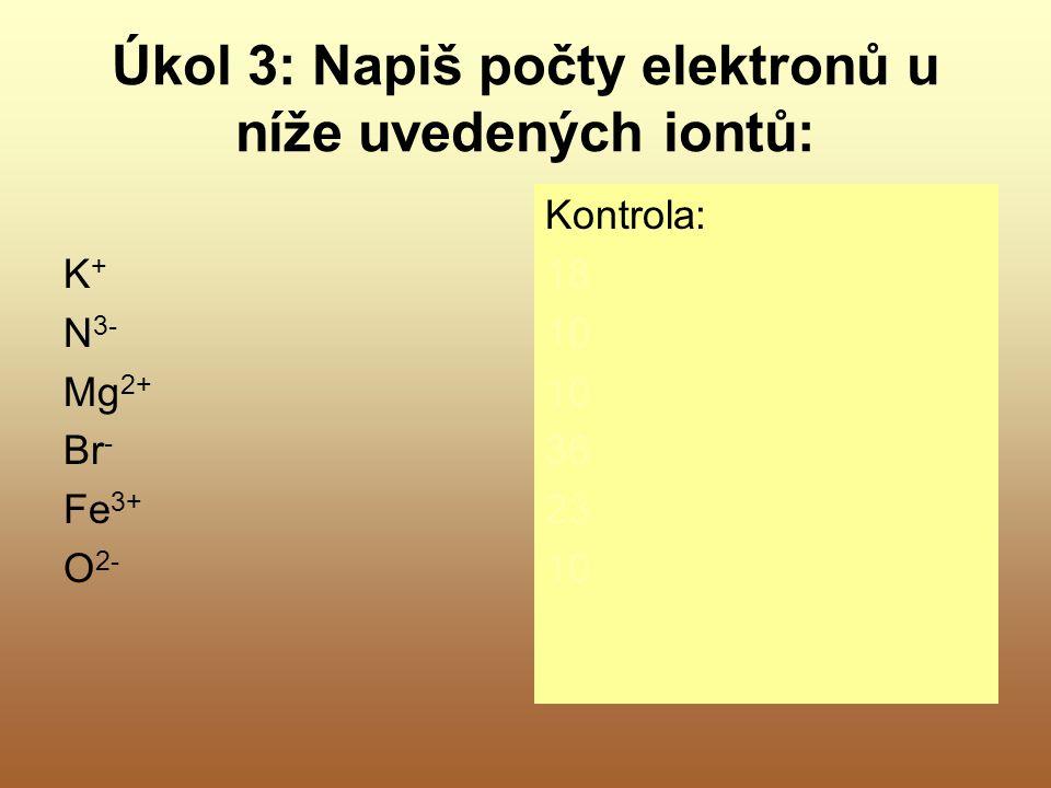 Úkol 3: Napiš počty elektronů u níže uvedených iontů: