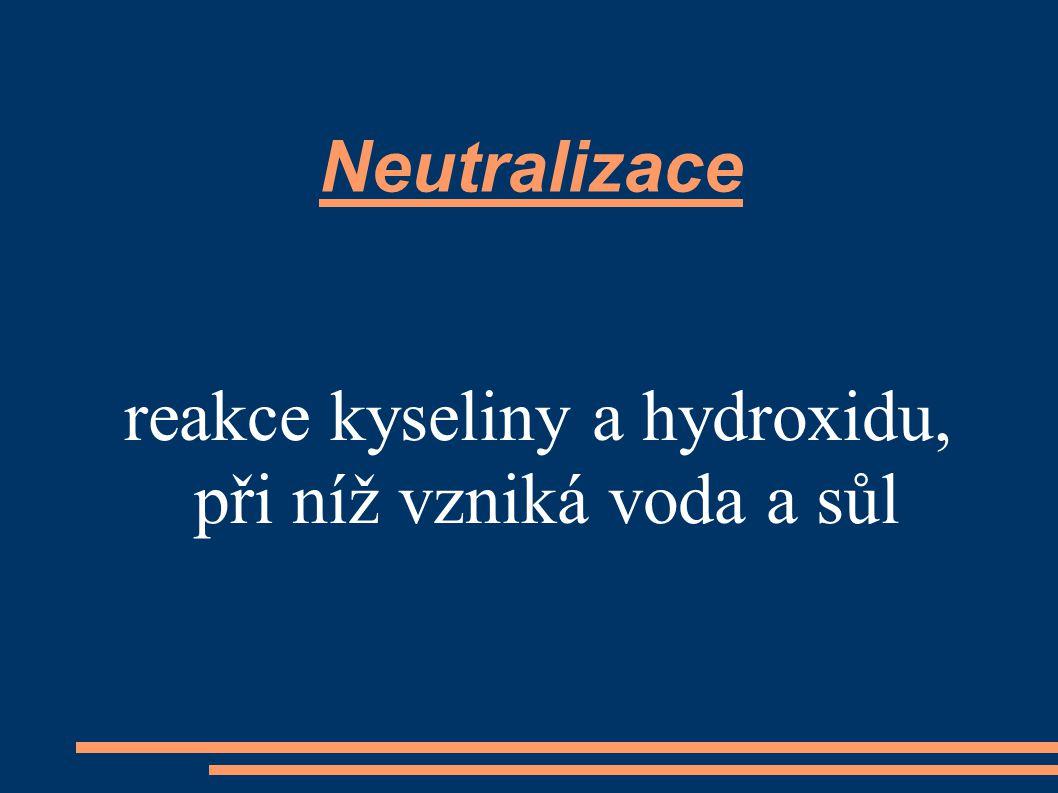 reakce kyseliny a hydroxidu, při níž vzniká voda a sůl