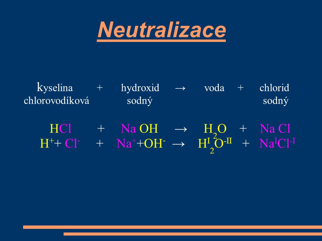 Neutralizace kyselina + hydroxid → voda + chlorid