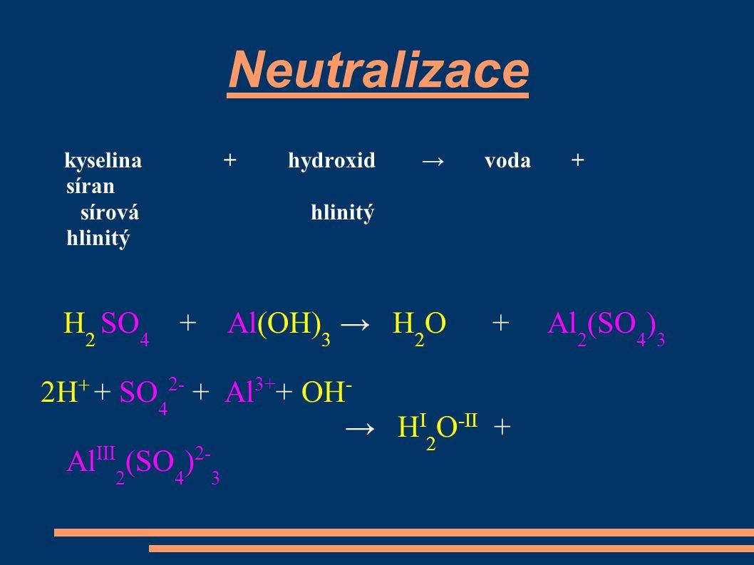 Neutralizace sírová hlinitý hlinitý H2 SO4 + Al(OH)3 → H2O + Al2(SO4)3