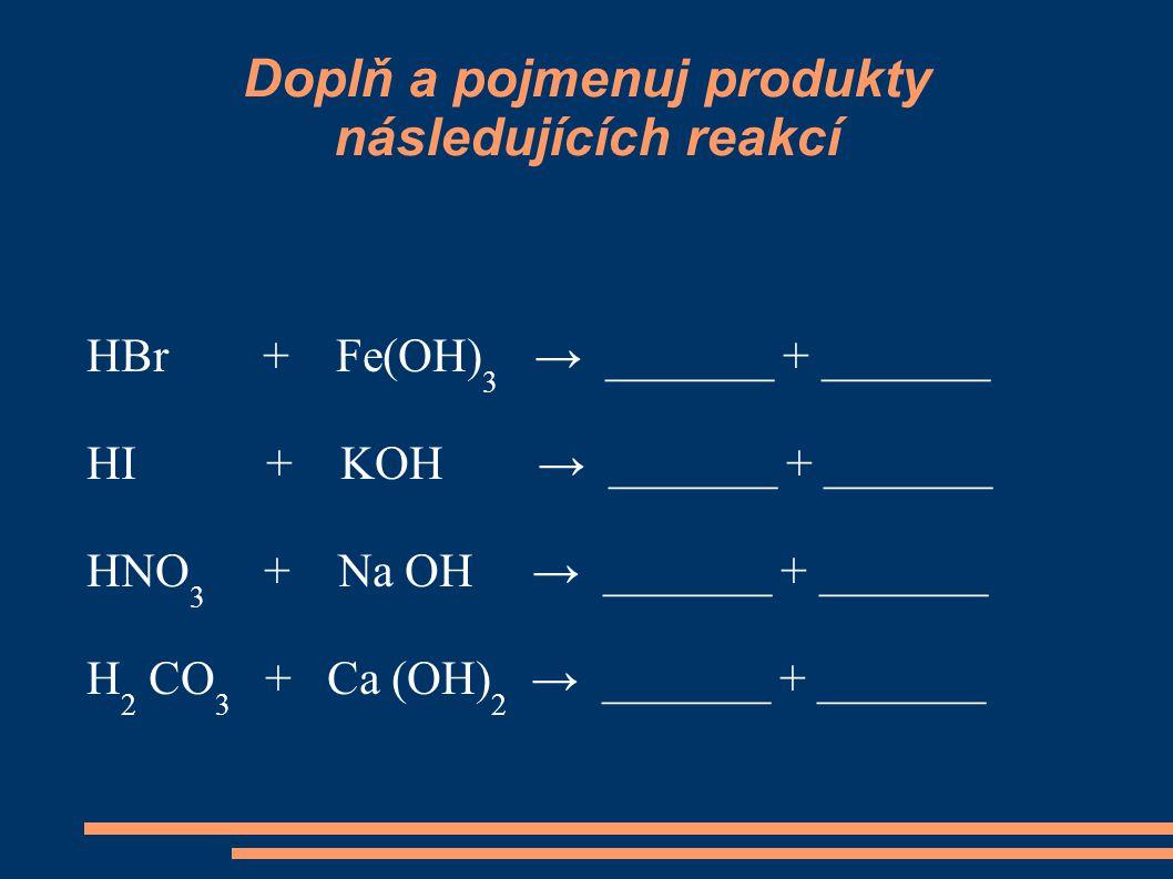Doplň a pojmenuj produkty následujících reakcí