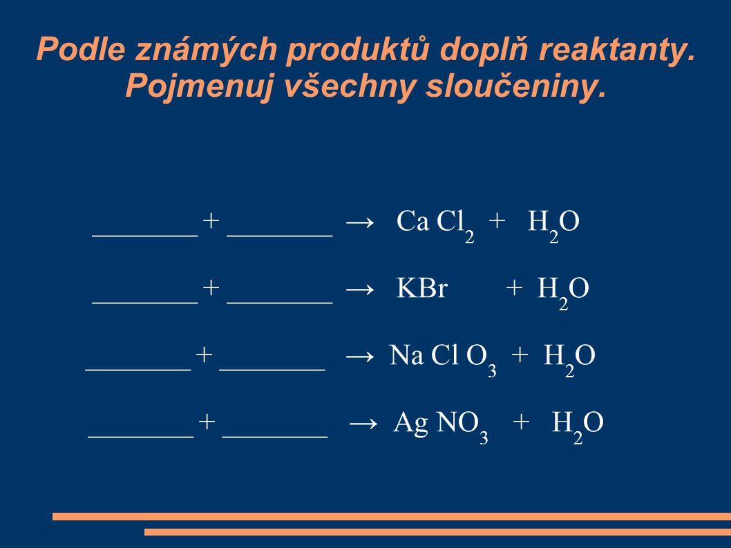 Podle známých produktů doplň reaktanty. Pojmenuj všechny sloučeniny.