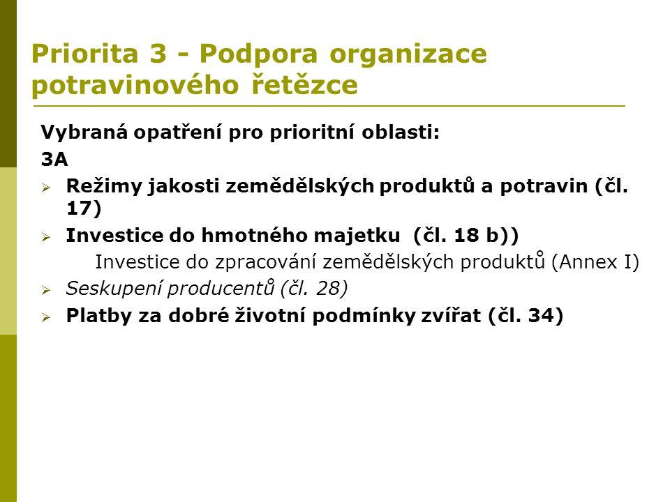 Priorita 3 - Podpora organizace potravinového řetězce