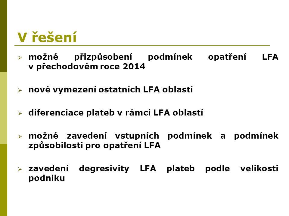 V řešení možné přizpůsobení podmínek opatření LFA v přechodovém roce 2014. nové vymezení ostatních LFA oblastí.