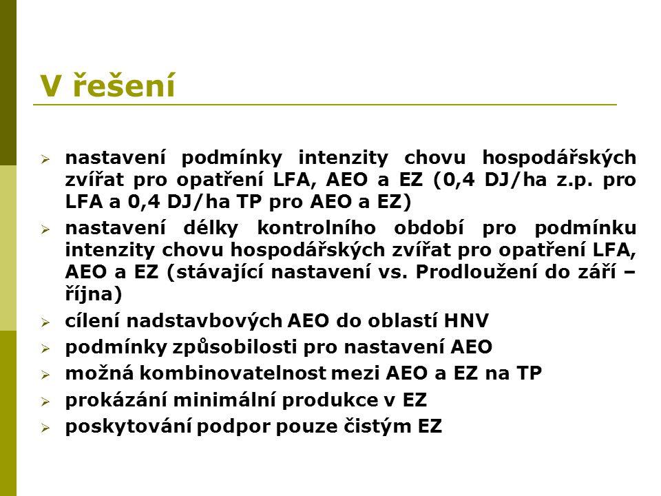 V řešení nastavení podmínky intenzity chovu hospodářských zvířat pro opatření LFA, AEO a EZ (0,4 DJ/ha z.p. pro LFA a 0,4 DJ/ha TP pro AEO a EZ)