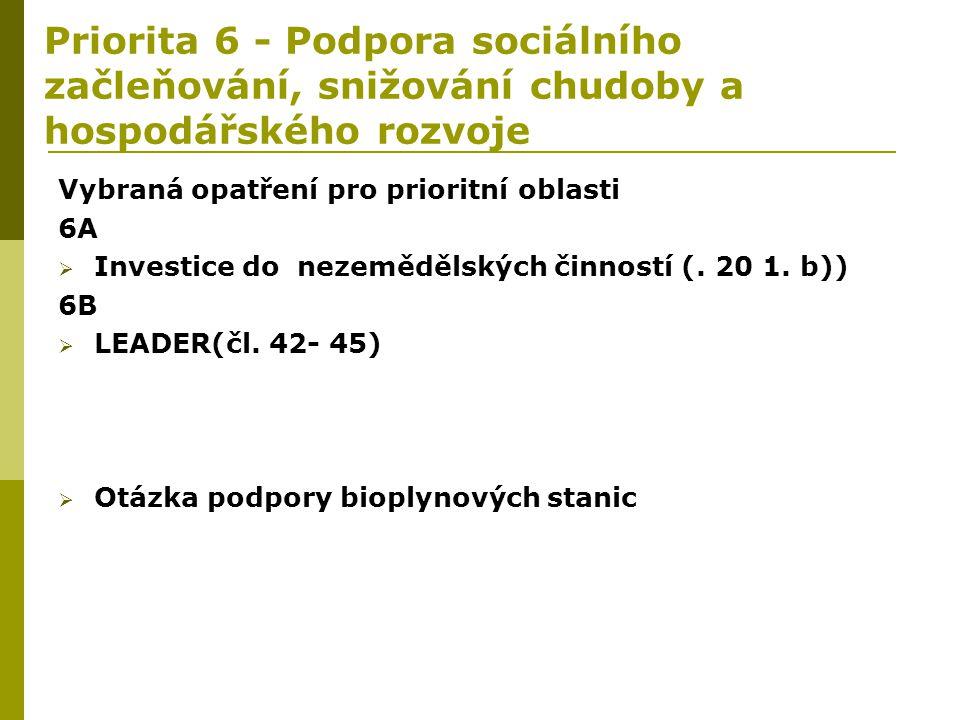 Priorita 6 - Podpora sociálního začleňování, snižování chudoby a hospodářského rozvoje