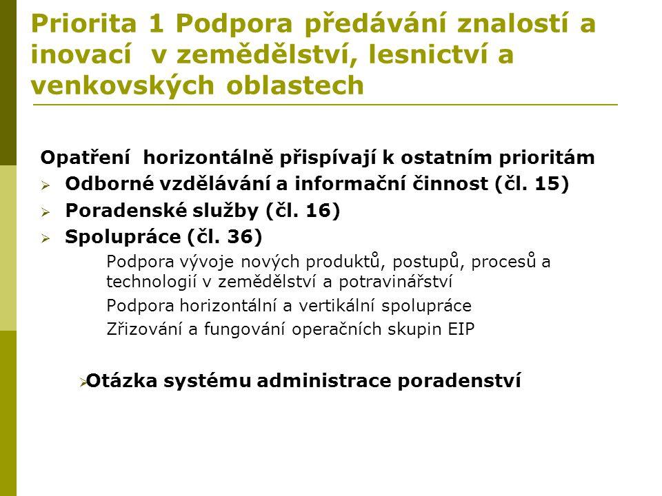 Priorita 1 Podpora předávání znalostí a inovací v zemědělství, lesnictví a venkovských oblastech