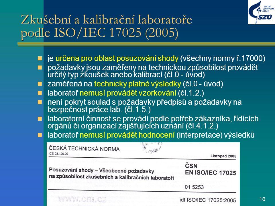 Zkušební a kalibrační laboratoře podle ISO/IEC 17025 (2005)