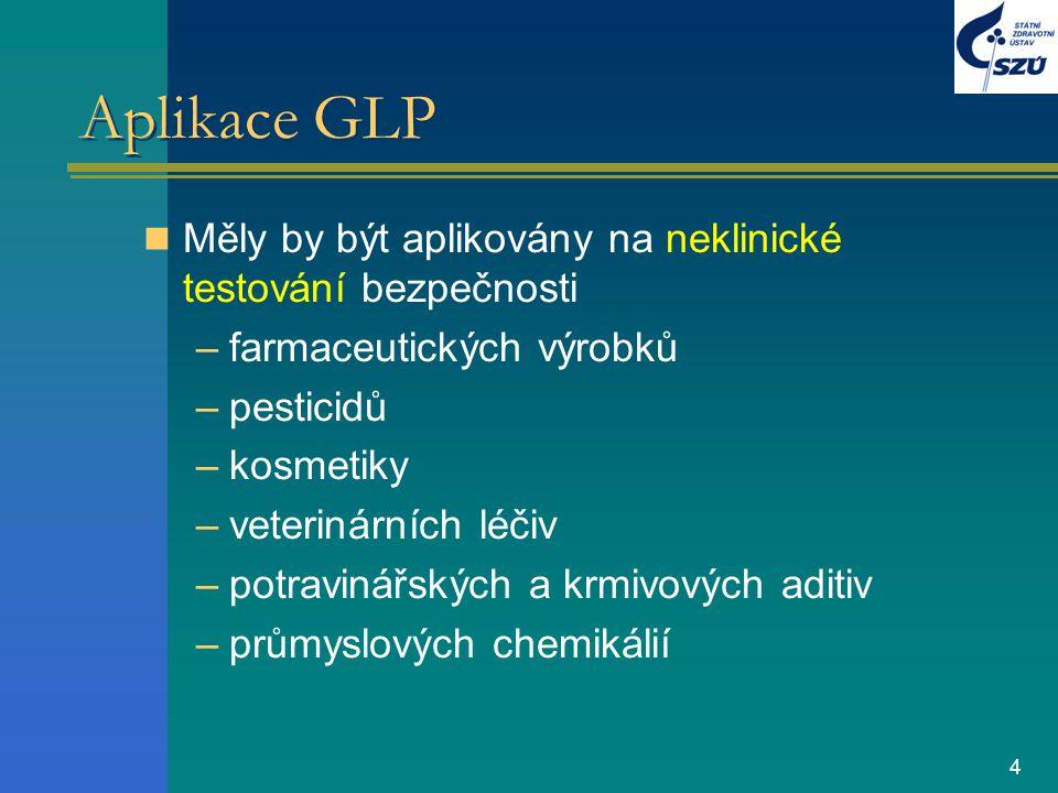 Aplikace GLP Měly by být aplikovány na neklinické testování bezpečnosti. farmaceutických výrobků. pesticidů.
