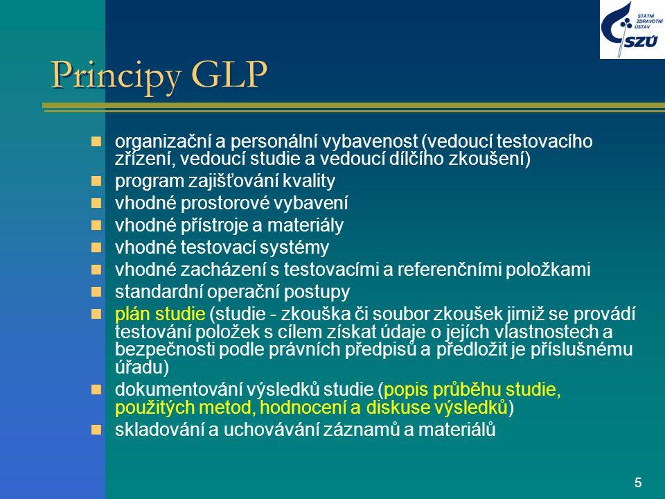Principy GLP organizační a personální vybavenost (vedoucí testovacího zřízení, vedoucí studie a vedoucí dílčího zkoušení)