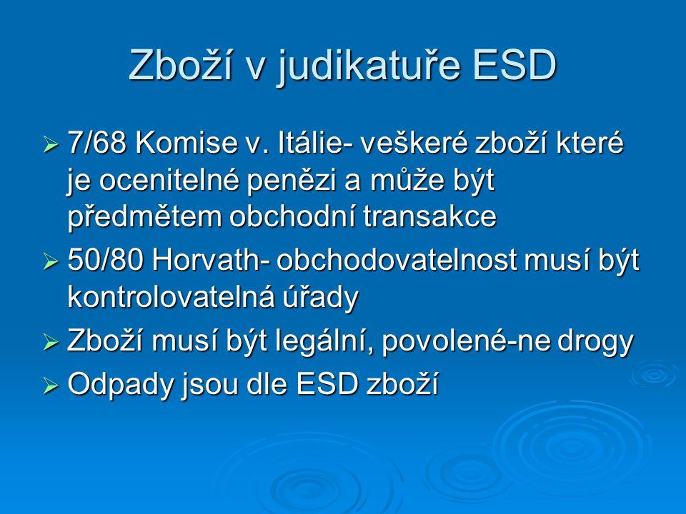 Zboží v judikatuře ESD 7/68 Komise v. Itálie- veškeré zboží které je ocenitelné penězi a může být předmětem obchodní transakce.