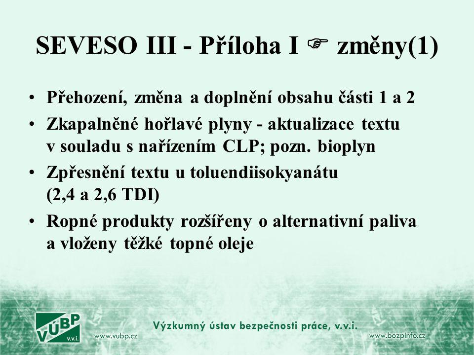 SEVESO III - Příloha I  změny(1)