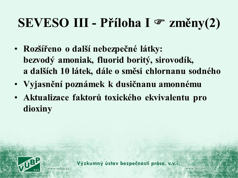 SEVESO III - Příloha I  změny(2)
